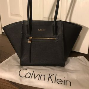 Calvin Klein Black Saffiano Leather Tote